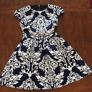 Beautiful Navy Blue Dress with White Print